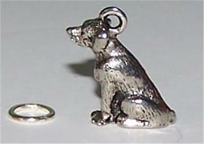 Retriever Dog Bracelet or Locket Charm Silver Color 3D With Extra Split Ring
