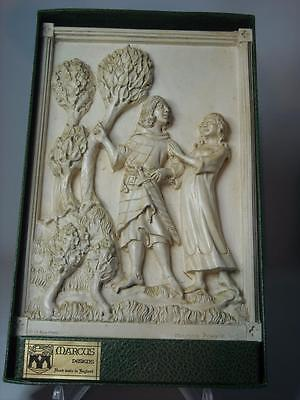 Marcus Designs TWO LOVERS Romeo & Juliet Boxed 1975 Chalkware Plaque D H Morton