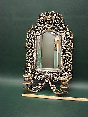 Antique Brass Silver Plate Wall Sconce Mirror Candlesticks Bachus Satyr Face