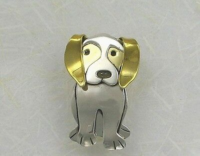 """925 Sterling Silver & Brass, """"Regal Beagle"""" Pin, Far Fetched, Retired Design"""