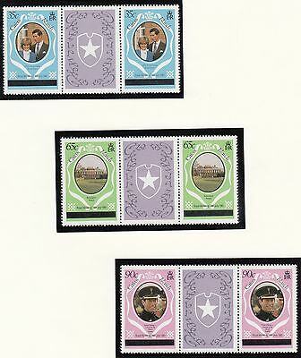 (71432) Caicos Islands - Gutter Pairs Overprint - Princess Diana Wedding 1981