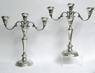 "Wallace Grand Baroque Sterling Silver 3 Tier 13"" Candleabras - Candlesticks"