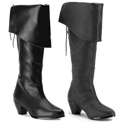 Pirate Boots Womens Black Knee-High Adult Shoes Halloween Costume Fancy Dress
