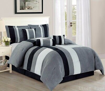 Gray Black Micro Suede Patchwork Comforter Set King Size 7 Piece New Linen Plus