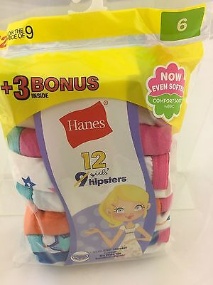 Hanes Girl's Hipster Panties 12 Pair Package NIP Size 6 Cotton Tagless