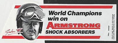 Graham Hill Armstrong Absobers F1 Champion 1962 Original Period Sticker Adesivo