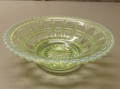 """Free Shipping!! Antique Imperial""""beaded Block"""" Vaseline Opalescent 6.5"""" Bowl"""