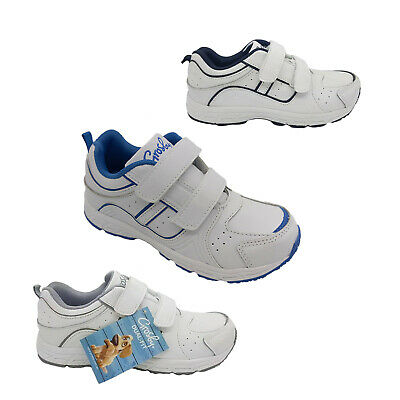 Boys Shoes Grosby Heist White Double Hook and Loop Runners Size 10-3 Sneakers