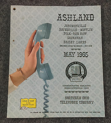 Vtg May 1965 ASHLAND Ohio Telephone Directory Book Northern Phone Yellow Pages