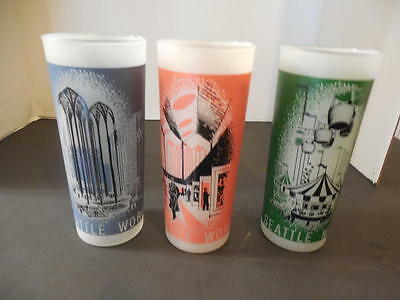 3 Frosted Seattle World's Fair 1962 Glasses- Science, Art & Entertainme ID:17593