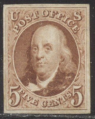 U.S. #3 CHOICE VF/XF Unused - 1875 5c Red Brown