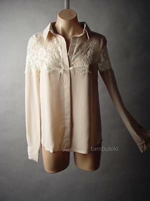 Romantic Antique Style Victorian Ladylike Ornate Sheer Lace Top 5xt Blouse S M L