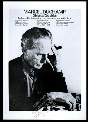 1973 Marcel Duchamp playing chess photo NYC gallery vintage print ad