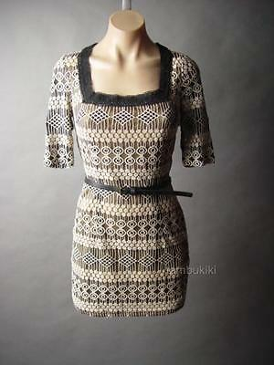 Black Beige Vtg-y 20s Embroidered Lace Art Deco Belted Cocktail Party 5xt Dress