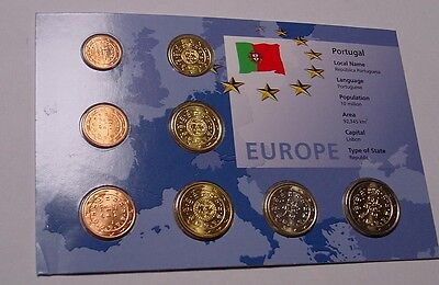 PORTUGAL. 2002 Euro 1st coin set, Uncirculated in pack of issue.