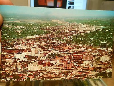 Vintage Old ILLINOIS Postcard Decatur Downtown Aerial View Church Hotel Factory