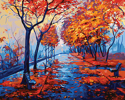 Framed Painting by Number kit Late Autumn Park In The Rain Red leaves DIY DY7152
