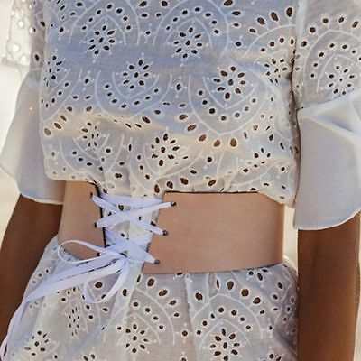 Womens Faux Leather Waist Belt Buckle Wide Elastic Corset Lace Up Waistband New