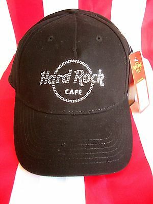 HRC Hard Rock Cafe Mykonos Black Rhinestone Basecap Base Cap Hat New NWT Strass