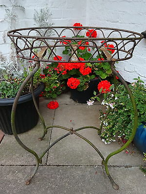 Vtg Weathered Quality Wrought Iron Plant Stand Basket Patio Garden Decoration