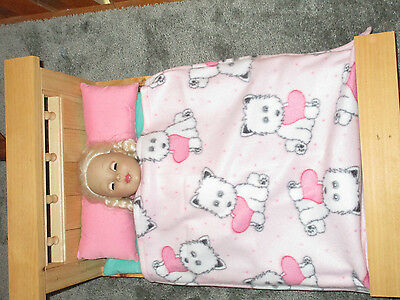 "Cute Puppies Fleece Blanket for 18"" Doll Clothes American Girl"