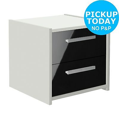 HOME New Sywell 2 Drawer Bedside Chest - White and Black. From Argos on ebay