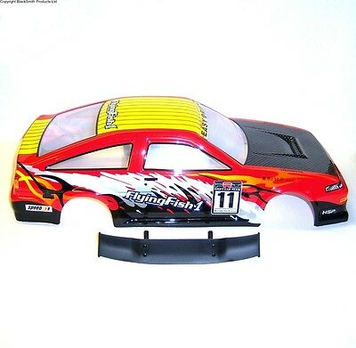 12318 1/10 Scale Drift Touring Car Body Cover Shell RC Red Cut
