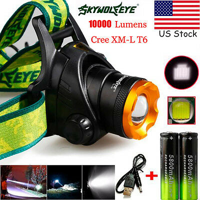 10000LM CREE XML T6 Headlamp Headlight Head Light LED USB Rechargeable 18650 lot