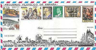 (5218A) Spain 7 stamp Airmail Unused Mint Cover