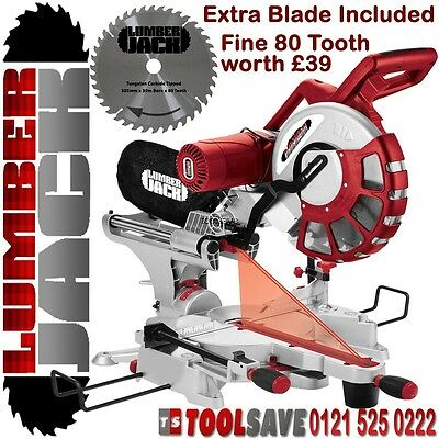 "Lumberjack 12"" Double Bevel Sliding Compound Mitre Saw 240v with Spare 80T Blade"