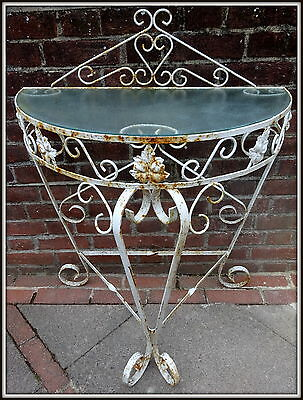 Weathered Wrought Iron Plant Stand Patio Garden Decoration