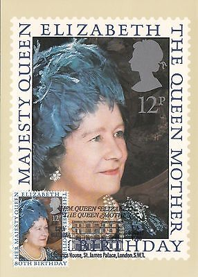 (36788) GB PHQ FDI Queen Mother 80th Postcard - Clarence House 4 August 1980