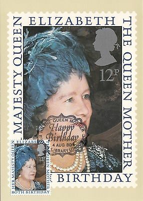 (36790) GB PHQ FDI Queen Mother 80th Postcard - British Library 4 August 1980