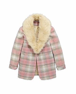 Freespirit Check Boyfriend Coat With Fur Collar