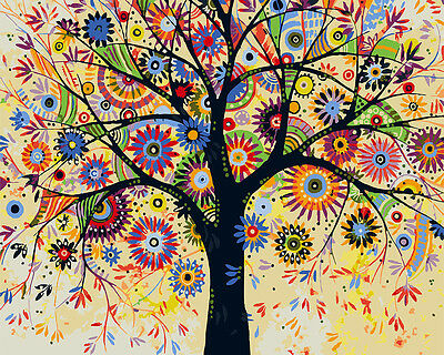 Framed Painting by Number kit Colors Four Seasons Lucky Tree Mascot DIY DY7168