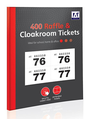 1 - 400 RAFFLE AND CLOAKROOM TICKETS - Book Colour Numbers Tombola Draw Lottery