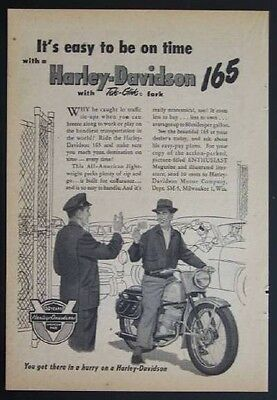 1954 Harley Davidson 165 *It's Easy to be On Time* 50th year Anniversary AD