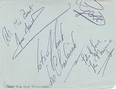 Signed  Gerry & The Pacemakers Vintage album page entire band with RR COA