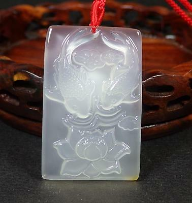 Chinese Icy White Agate JADE PENDANT Fish Lotus Flower Rectangle 284850