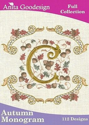 Anita Goodesign Autumn Monogram Embroidery Machine Design CD NEW 50AGHD