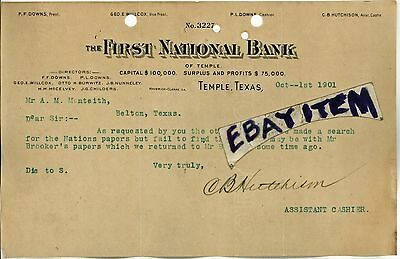 1901 Letterhead FIRST NATIONAL BANK Temple Texas HUTCHISON BURWITZ NUNNELEY 3227