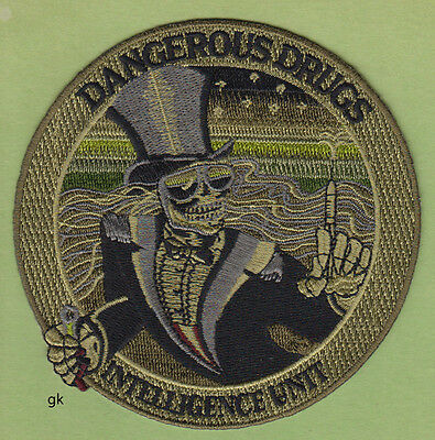DEA DANGEROUS DRUGS INTELLIGENCE POLICE SHOULDER PATCH SUBDUED GREEN (Round )