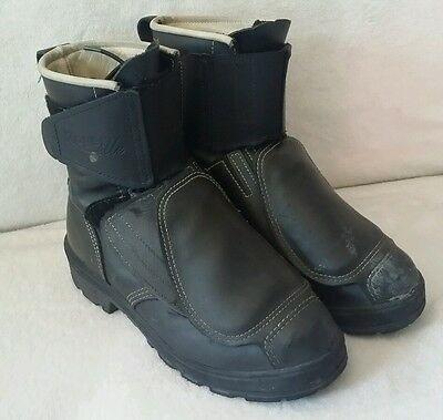 ROYER Kevlar STEEL TOE work BOOTS leather w/ safety guards over laces sz. 9 EUC