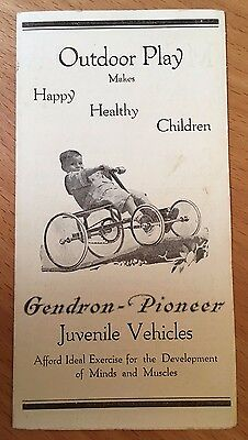 GENDRON PIONEER BICYCLES 1900s Tricycles WAGONS VEHICLES Toy Cars VELOCIPEDES