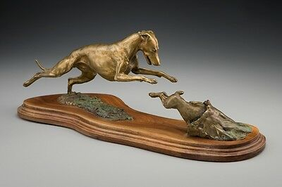 Whippet Bronze by Leslie Hutto  Dog Chasing Rabbit
