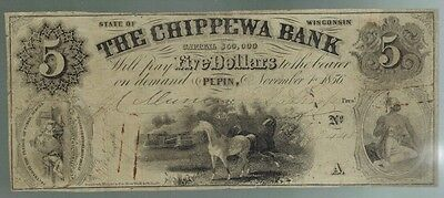 1856 Pepin, Wisconsin THE CHIPPEWA BANK, $5 Obsolete Currency