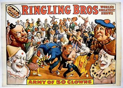 RINGLING BROS ARMY OF 50 CLOWNS POSTER-Copyright 1960-Circus World Museum