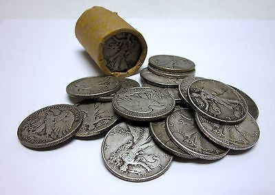 Circulated Roll Of 20 Assorted Walking Liberty Half Dollars - 90% Silver