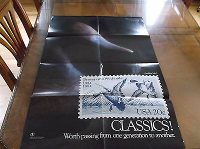 Original 1984 Us Postal Service Poster Stamp Collecting Ducks Decoy 3X2 Ft #544