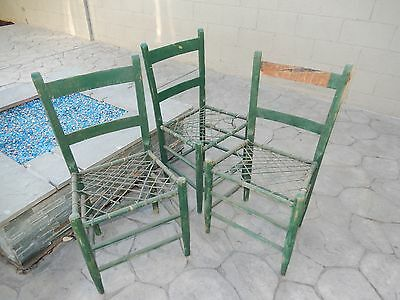 Three Old Shaker Style Ladder Back Chairs